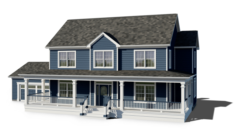House With Blue Trim